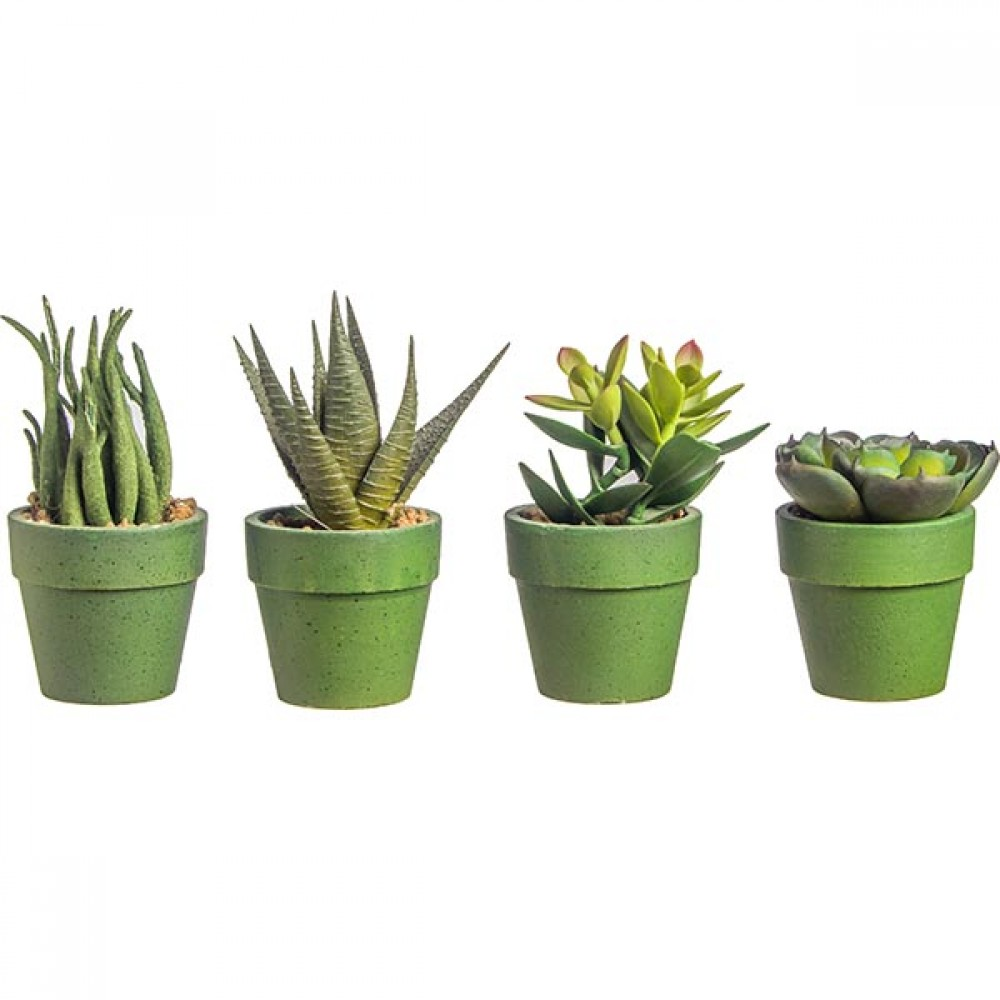 CACTUS IN FLOWER POT (6 PIECES) 13CM