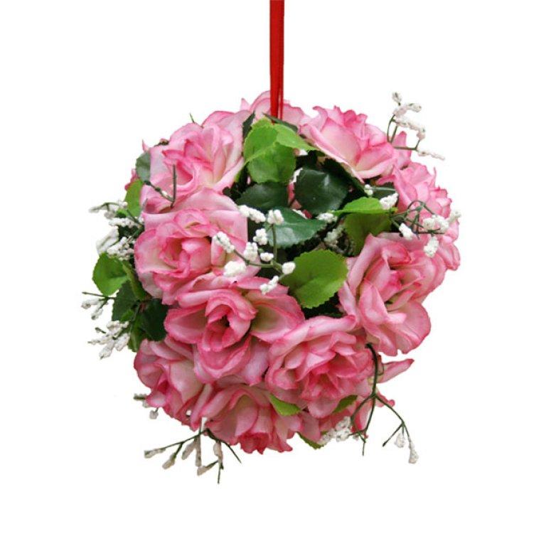 ARTIFICIAL GREEN BALL FLOWER PINK 14CM