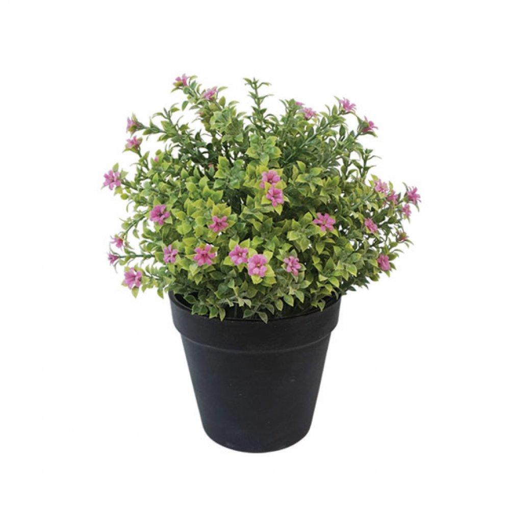 GREENERY IN FLOWER POT WITH FUCHSIA FLOWER 24CM