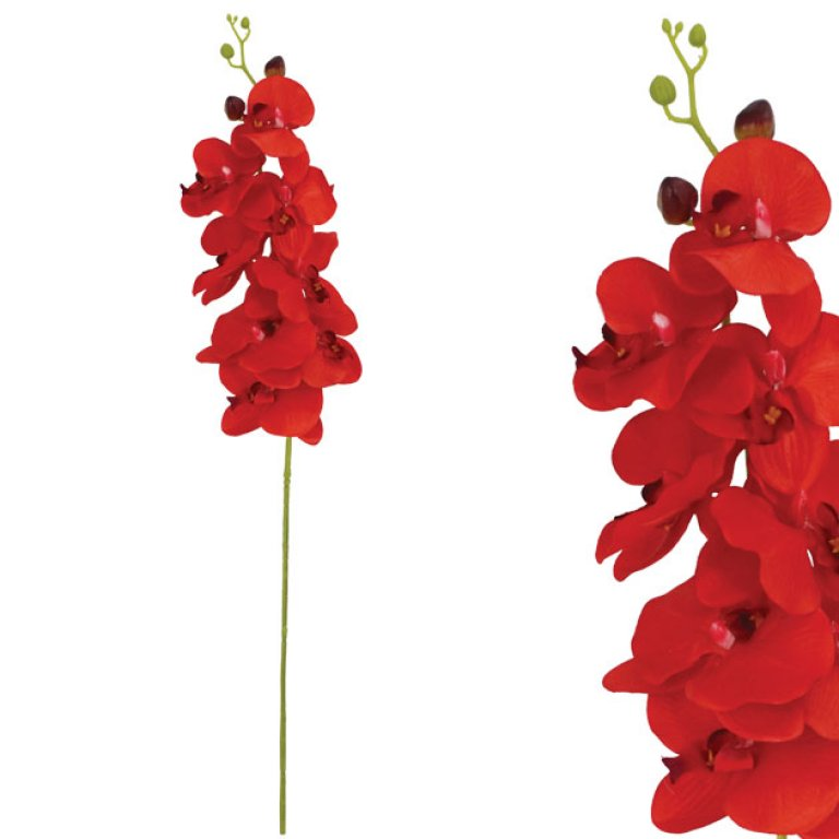 ARTIFICIAL ORCHID BRANCH RED 90CM