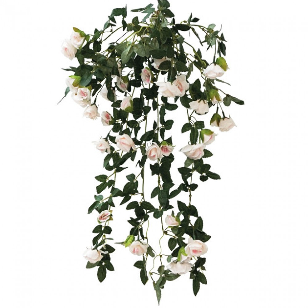 ARTIFICIAL HANGING ROSE TREE LIGHT PINK 72CM