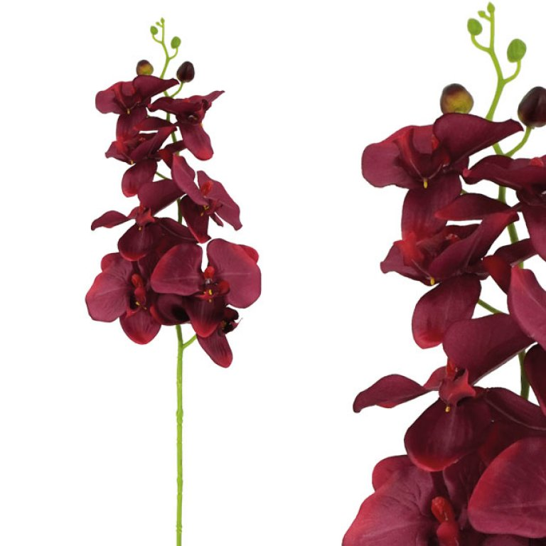ARTIFICIAL ORCHID BRANCH PASTEL BURGUNDY 90CM