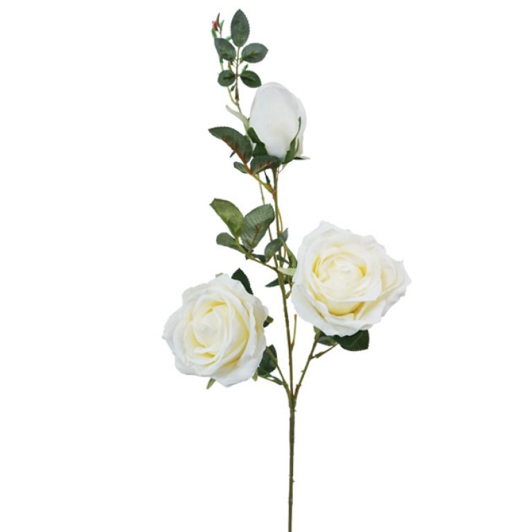 ARTIFICIAL ROSE BRANCH CHAMPAGNE 96CM