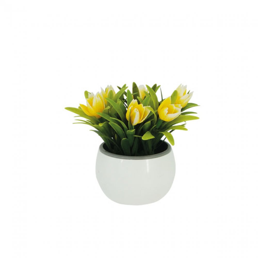 GREENERY IN FLOWER POT WITH YELLOW TULIP 13CM