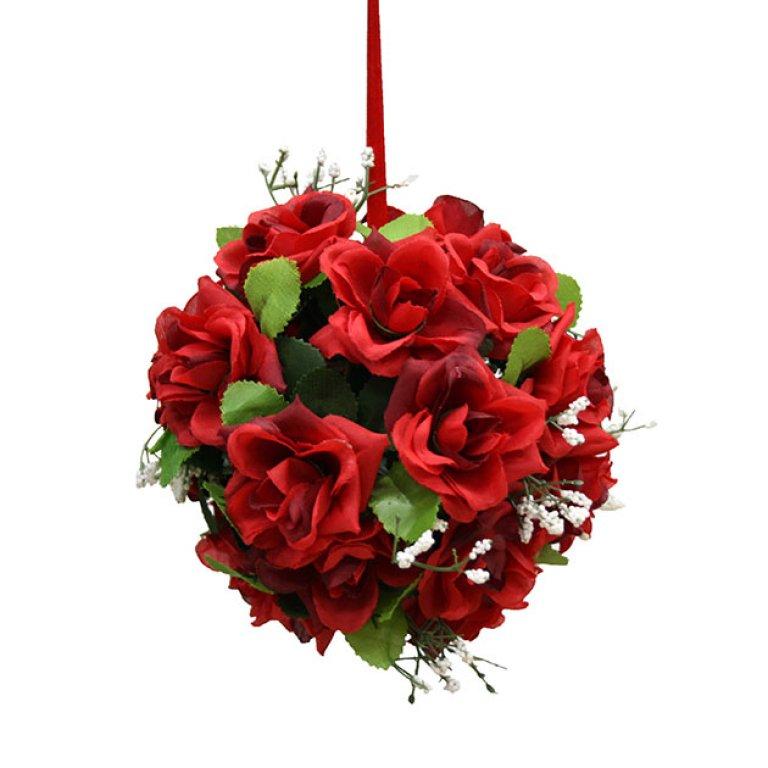 ARTIFICIAL GREEN BALL FLOWER RED 14CM