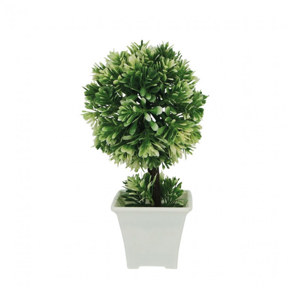 ROUND GREENERY IN FLOWER POT WHITE 22CM