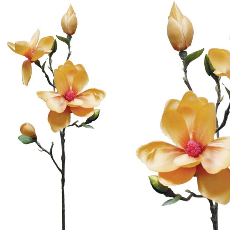 ARTIFICIAL MAGNOLIA BRANCH PASTEL YELLOW 81CM
