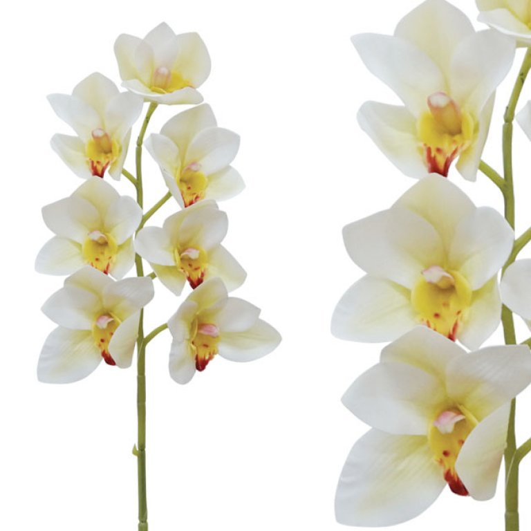 ARTIFICIAL CYMBIDIUM ORCHID BRANCH CREAM REAL TOUCH 62CM