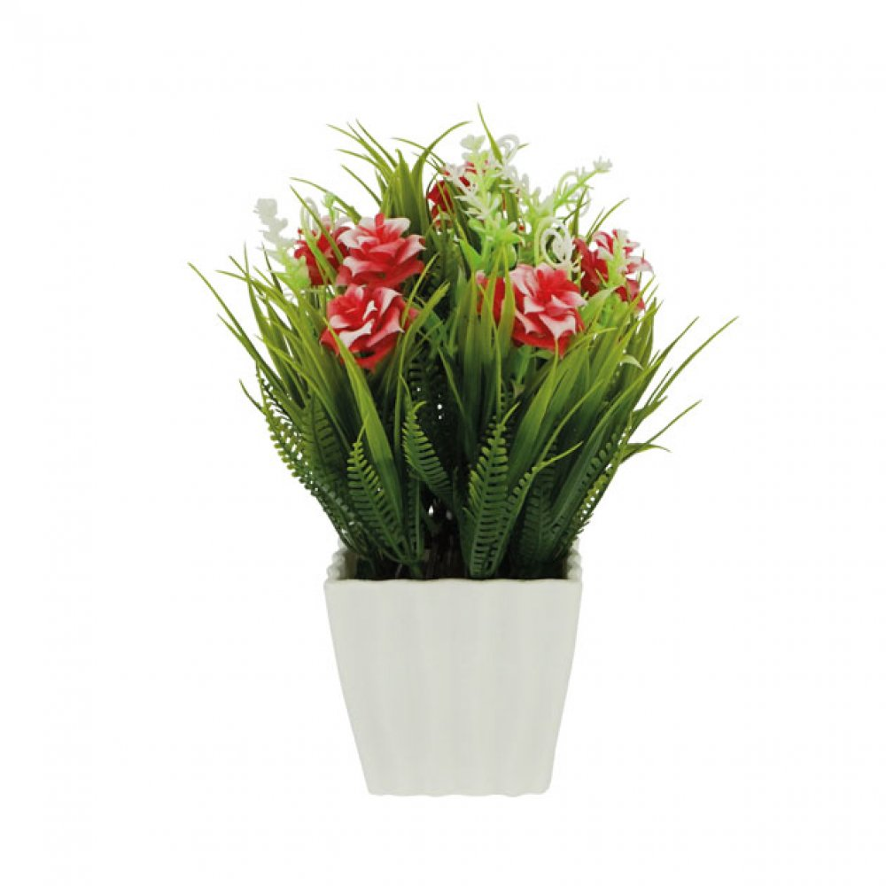 GREENERY IN FLOWER POT WITH RED ROSE 21CM