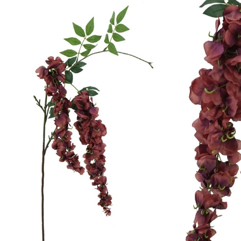 ARTIFICIAL WISTERIA BRANCH BURGUNDY 98CM