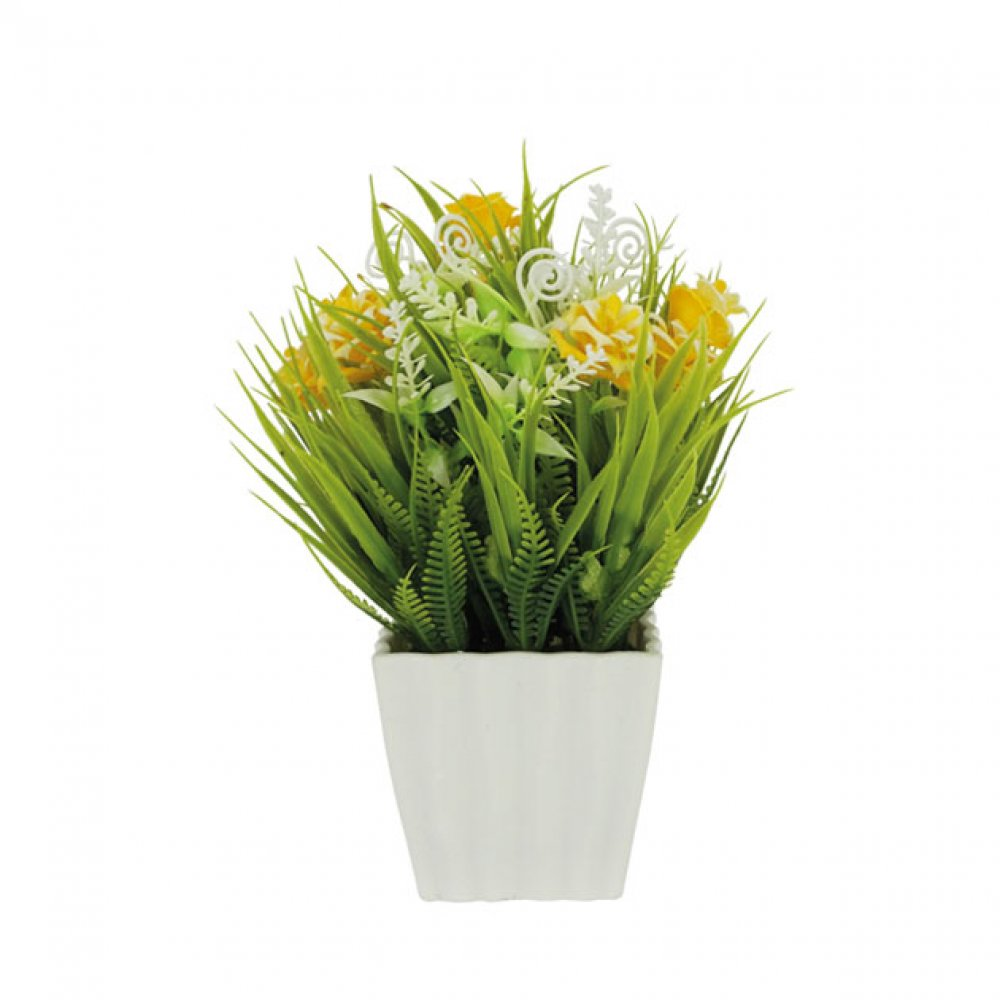 GREENERY IN FLOWER POT WITH YELLOW ROSE 21CM