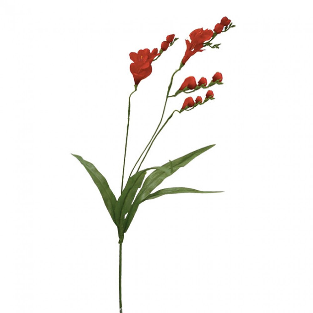 ARTIFICIAL FREESIA BRANCH RED 74CM