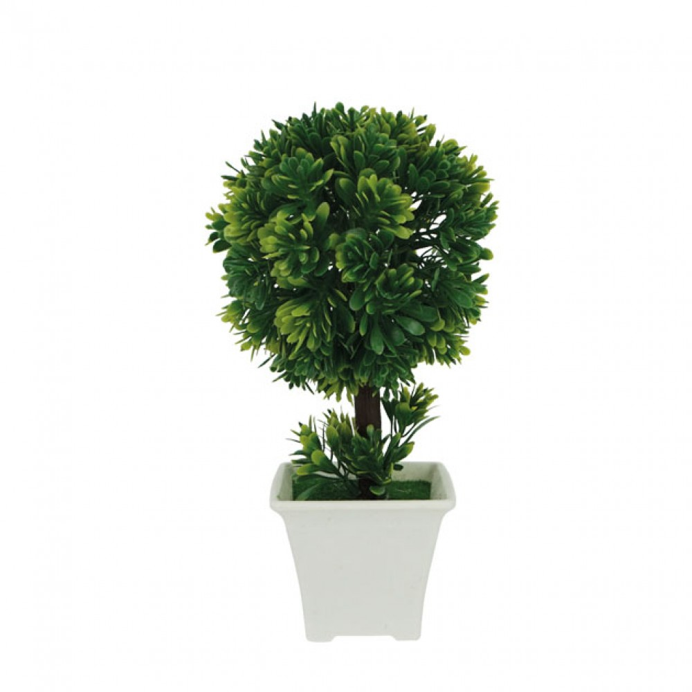 ROUND GREENERY IN FLOWER POT GREEN 22CM