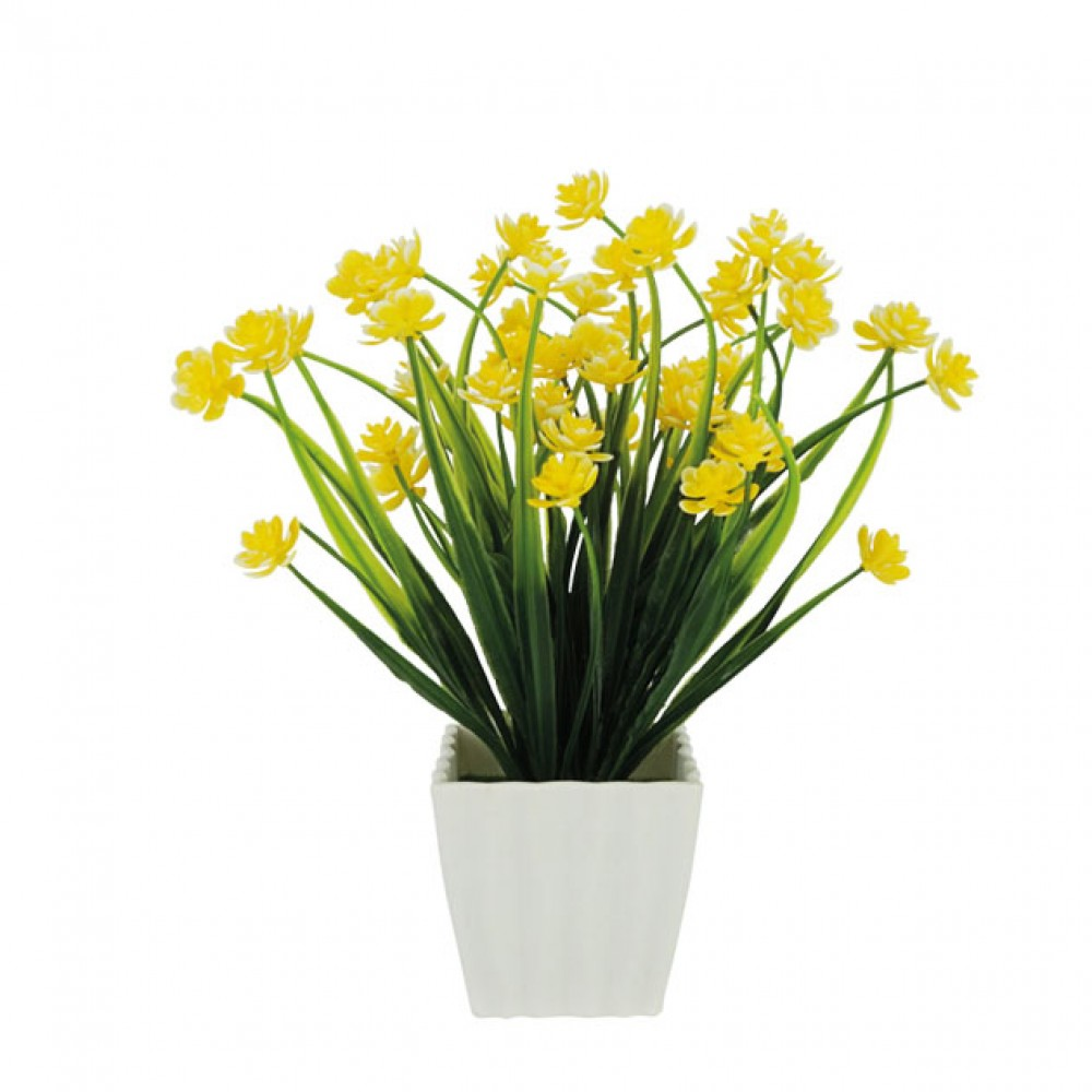 GREENERY IN FLOWER POT WITH YELLOW FLOWER 23CM