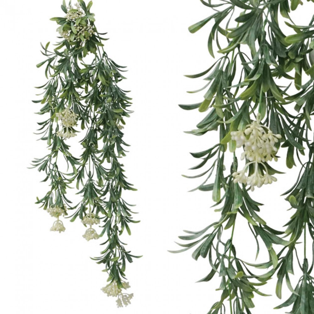 ARTIFICIAL HANGING GREENERY WITH WHITE FLOWER 77CM