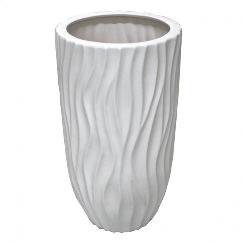 CERAMIC FLOOR VASE WHITE 19x40CM