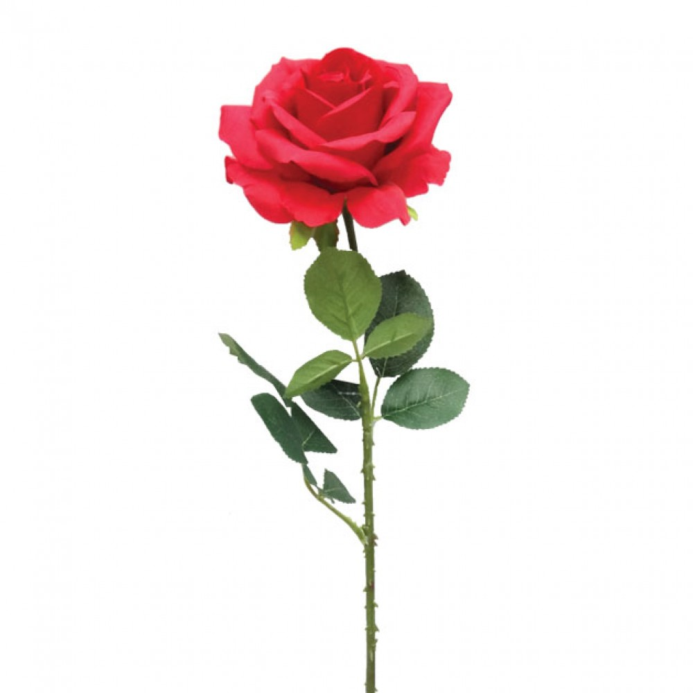 ARTIFICIAL ROSE BRANCH RED 67CM