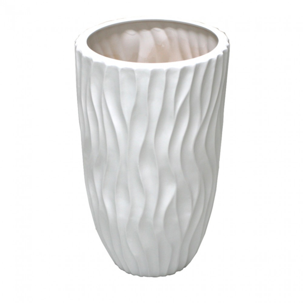 CERAMIC FLOOR VASE WHITE 26x50CM