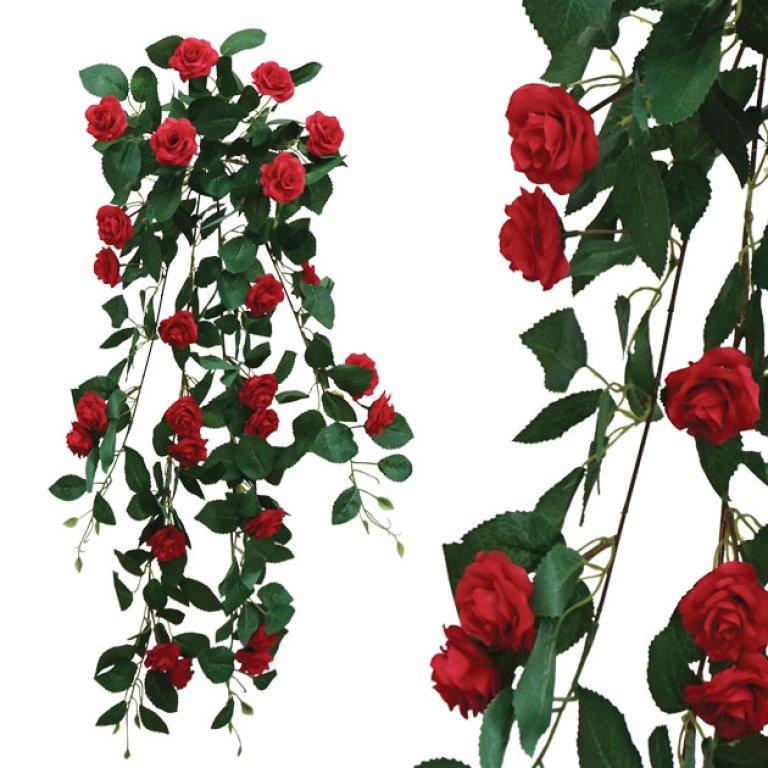 ARTIFICIAL HANGING ROSE RED 90CM