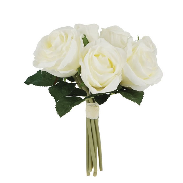 ARTIFICIAL ROSE BOUQUET CREAM 25CM
