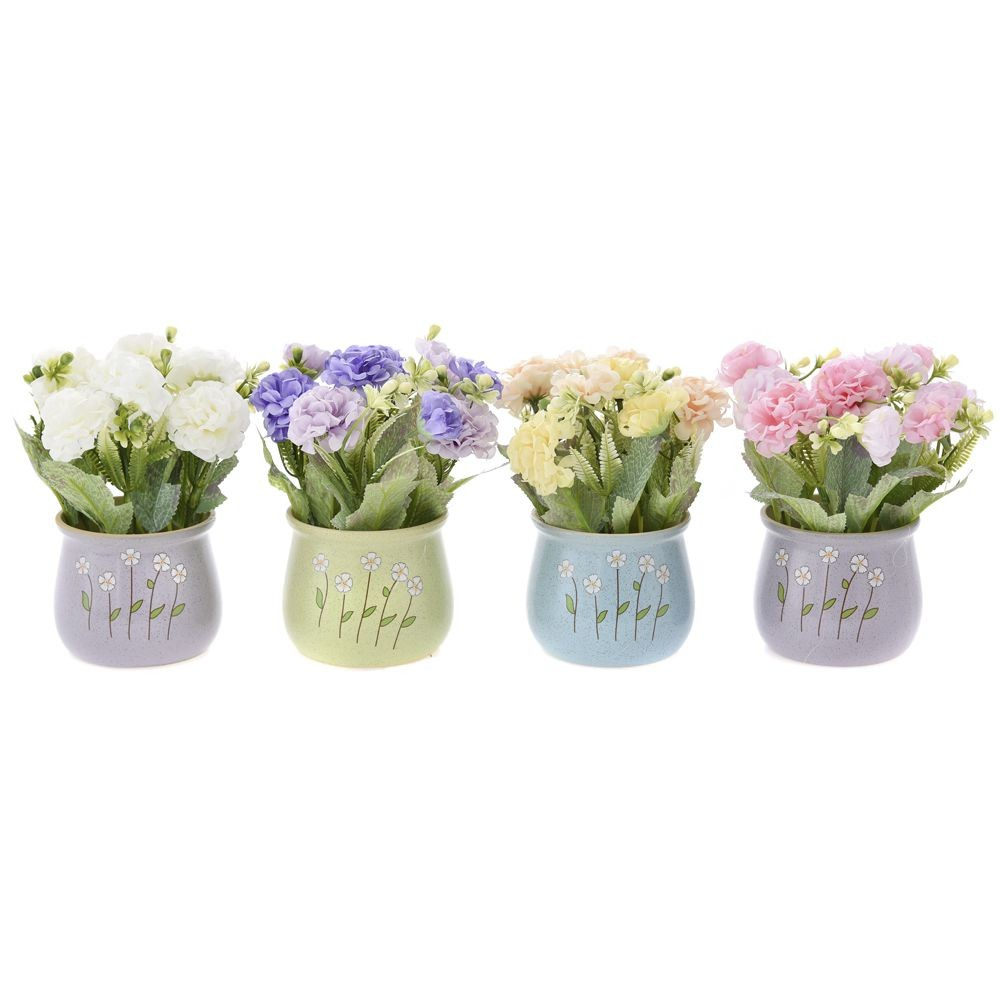 GREENERY IN FLOWER POT WITH FLOWER (4 COLOURS) 18CM