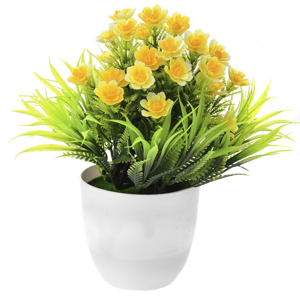 GREENERY IN FLOWER POT WITH FLOWER YELLOW 20CM