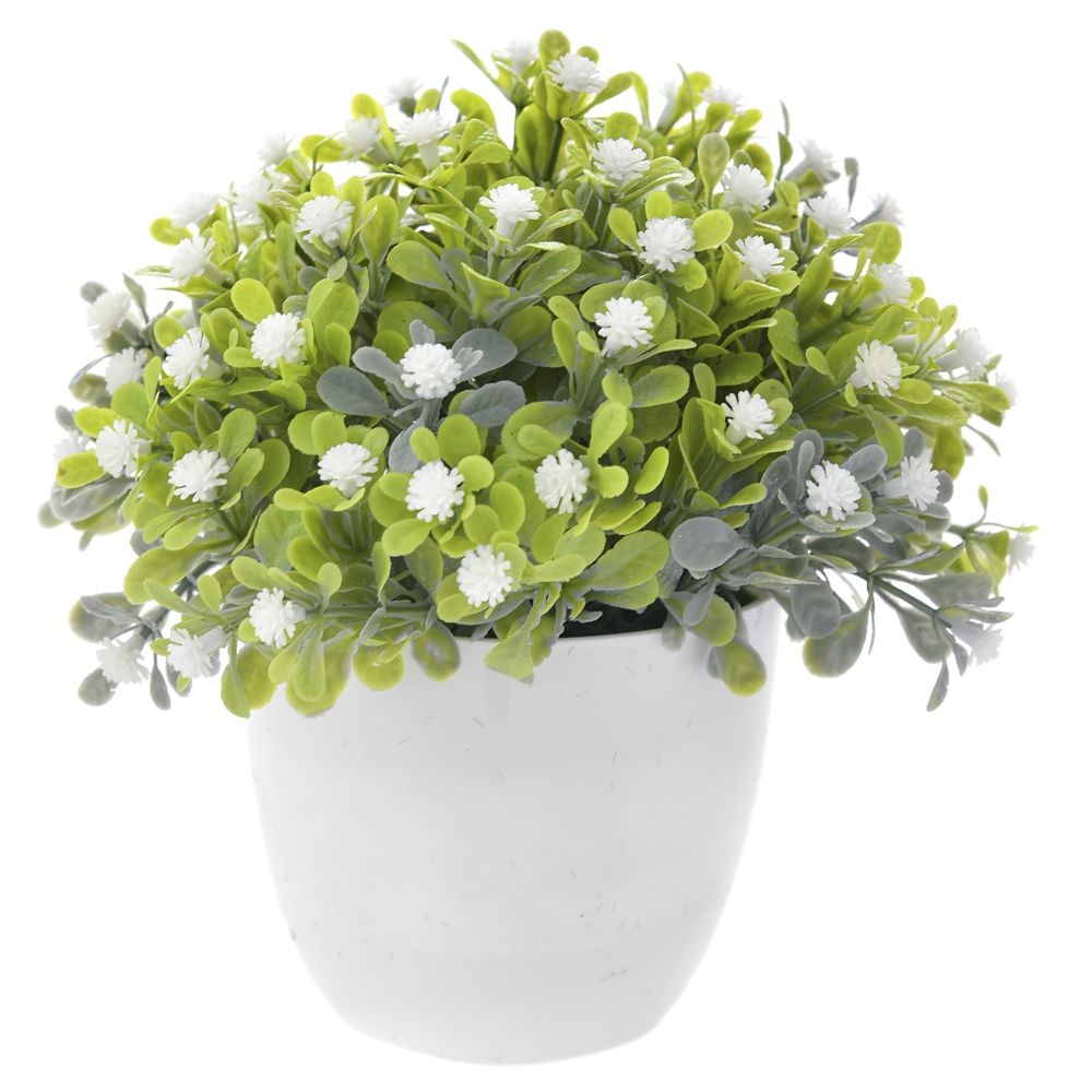 GREENERY IN FLOWER POT WITH FLOWER WHITE 16CM