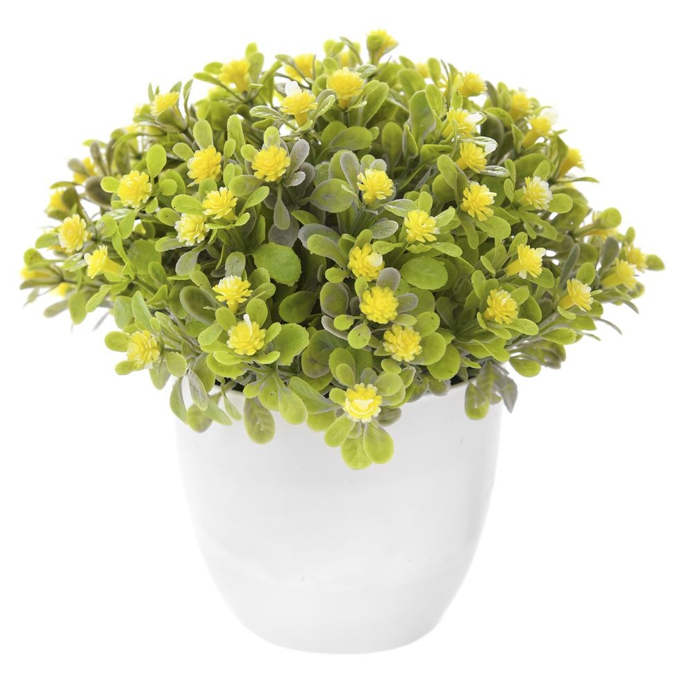 GREENERY IN FLOWER POT WITH FLOWER YELLOW 16CM