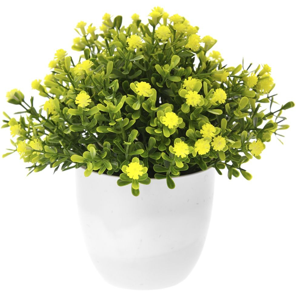 GREENERY IN FLOWER POT WITH FLOWER YELLOW 18CM
