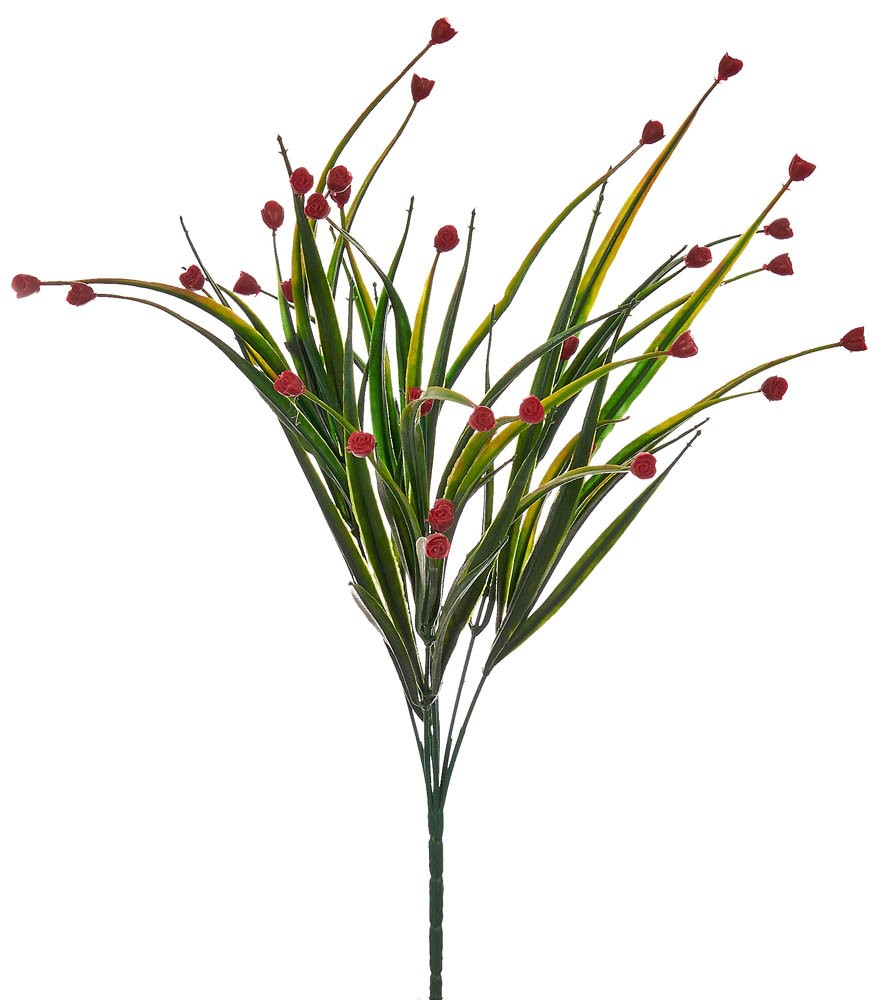 ARTIFICIAL GREENERY BOUQUET WITH FLOWER RED 35CM