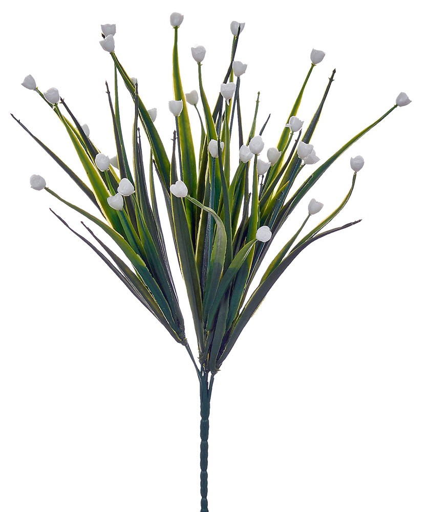ARTIFICIAL GREENERY BOUQUET WITH FLOWER WHITE 35CM