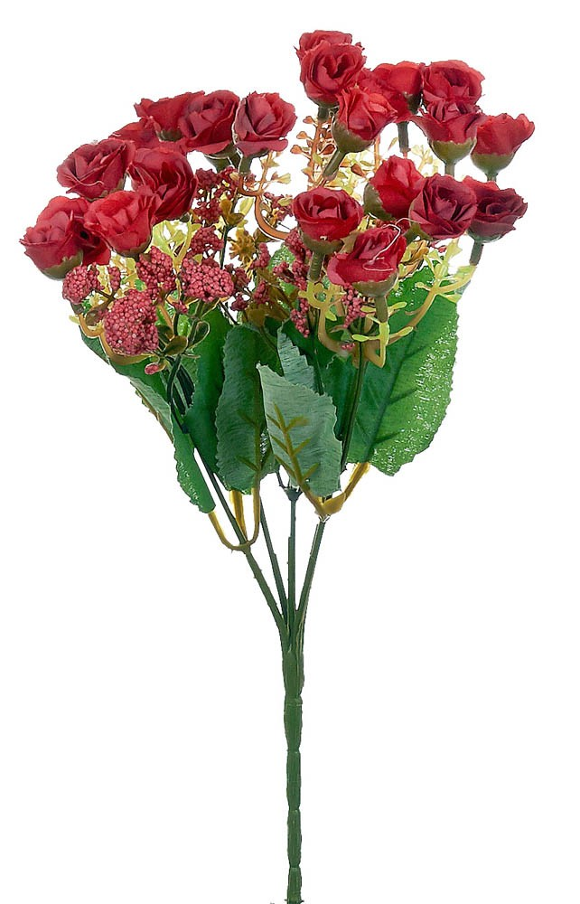 ARTIFICIAL ROSE BOUQUET RED 30CM
