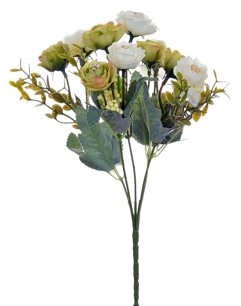 ARTIFICIAL ROSE BOUQUET GREEN-WHITE 32CM