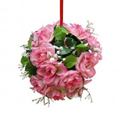 ARTIFICIAL GREEN BALL FLOWER PINK 14CM