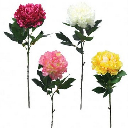 ARTIFICIAL PEONY BRANCH WHITE 77CM - 1