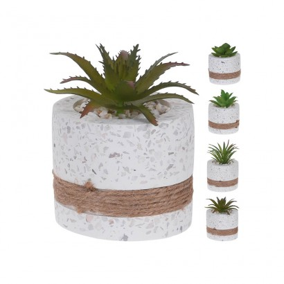 CACTUS IN CEMENT FLOWER POT (4 PIECES) 7x7CM - 1