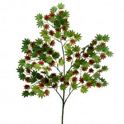 ARTIFICIAL PLATANUS LEAF BRANCH GREEN-BROWN 65CM - 1