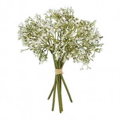 ARTIFICIAL GYPSOPHILA BOUQUET GREEN/WHITE 28CM