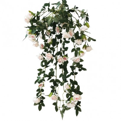 ARTIFICIAL HANGING ROSE TREE LIGHT PINK 72CM - 1