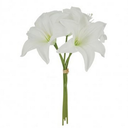 ARTIFICIAL LILIUM BOUQUET REAL TOUCH WHITE 34CM - 1