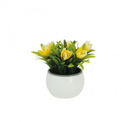 GREENERY IN FLOWER POT WITH YELLOW TULIP 13CM - 1