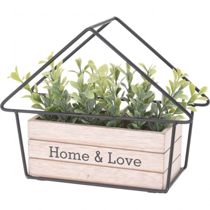 METAL HOME WITH WOODEN FLOWER POT 25x9x20CM - 1