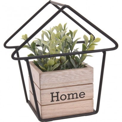 METAL HOME WITH WOODEN FLOWER POT 16x9x17CM
