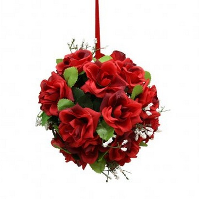 ARTIFICIAL GREEN BALL FLOWER RED 14CM