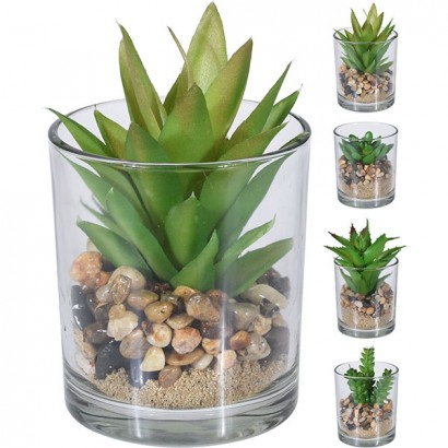 CACTUS IN GLASS FLOWER POT (4 PIECES) 9x11CM - 1