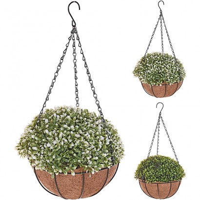 ARTIFICIAL HANGING GREENERY WITH FLOWER (2 PIECES) 24x50CM - 1