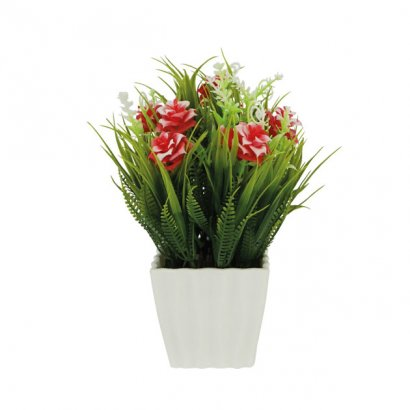 GREENERY IN FLOWER POT WITH RED ROSE 21CM - 1