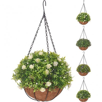 ARTIFICIAL HANGING GREENERY WITH FLOWER (4 PIECES) 20x50CM - 1