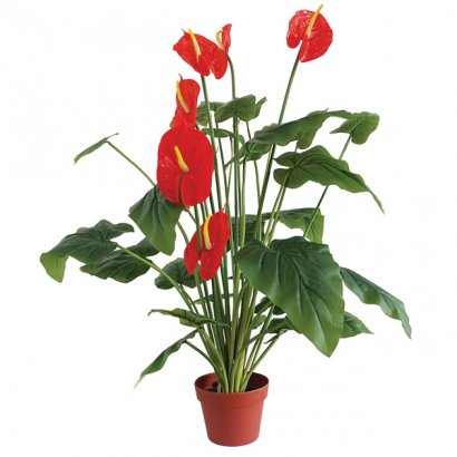 ARTIFICIAL ANTHURIUM PLANT RED 95CM - 1