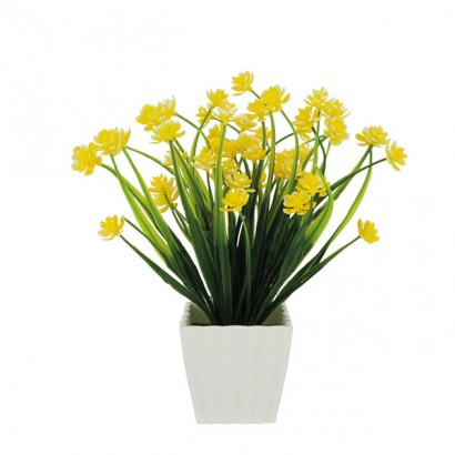 GREENERY IN FLOWER POT WITH YELLOW FLOWER 23CM - 1
